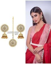 Indian Kundan White Pearl Earrings Maangtika Set Bollywood Fashion Women Jewelry