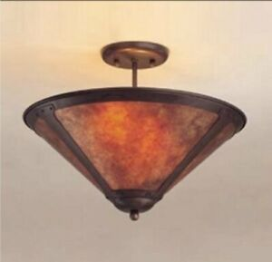 "Pair of 110 Drop Ceiling 17"" Lamps / Mica Lamp Companies Coppersmith Collection"