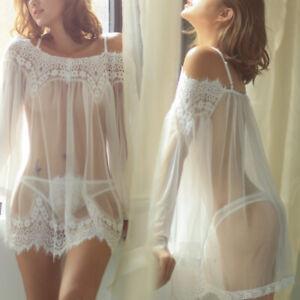 Sexy Lingerie Women Lace Dress Babydoll Nightdress Nightgown Sleepwear Thong Set