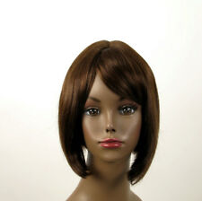 Perruque afro femme 100% cheveux naturel mi long châtain ref JACKIE 01/6