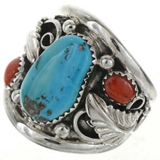 Turquoise Coral  Sterling Mens Ring Navajo Made