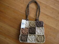 Flowerful crocheted Paper hand bag by Nine West