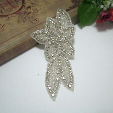 1 Pcs Glass Crystal Rhinestone Beaded Applique/Patch Iron-On Sew-On Clear Silver