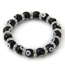 Roundel Evil Eye Lampwork Glass Crystal Bracelet Black HOT HY