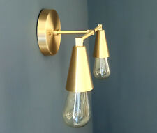 Wall Sconce Vanity Gold Brass 2 Bulb Cone Covers Round Base Modern Downward Abst