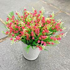 6 Pink Fake Artificial False Flower Leaf Plants Indoor Outdoor Foliage Garden