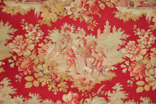 French Toile Fabric Family hunting & fishing scenes multitonal 1880 18x56 inches
