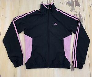 ADIDAS - NWOT Black & Pink Windbreaker Jacket, Womens SMALL - NEW!