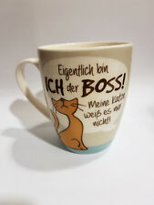 Kaffeebecher / Kaffeetasse Tasse Katze Boss Weisheit Porzellan Gilde Geschenk