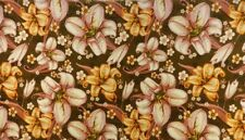 Retro Orange pink Brown Velvet Fabric Curtain Upholstery Remnant 2 Off cuts