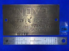 2 1/2 Hp Novo Tag Hit Miss Gas Engine Antique Name Plate Brass
