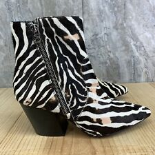 All Saints Aster Zebra Cow Hair Ankle Booties Women's Size EURO 38 US 7