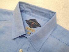 Bills Khakis Linen Cotton Blend Arcadia Oxford Blue Sport Shirt NWT Large $155