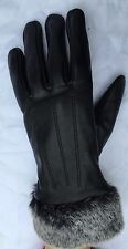 Beautiful Black Leather Women's Gloves with Fur Size S, M, L