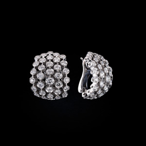 14K White Gold 1.2CT Natural Diamond Cuff Earrings Jacket Omega Back Jewelry