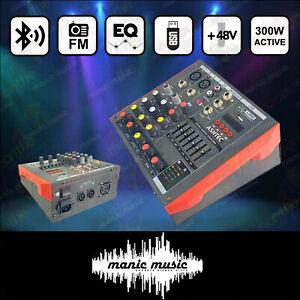 300W Powered Audio Mixer 4Ch Bluetooth USB PC Soundcard Record Radio EQ Phantom