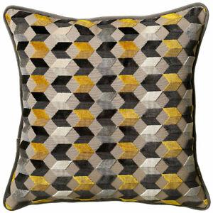 Scatter Box Kingsley Cut Velvet Feather Filled Cushion, Saffron