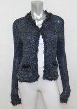 EXPRESS Gray/Black Metallic Knit Clasp Front Fringe Trim Cardigan Sweater sz S