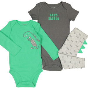 Carters 3 Piece Baby Boys Dinosaur Set Twin Bodysuit and Pants 6, 9 & 12 Months