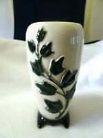 """Vintage Royal Copley 7"""" Embossed Green Climbing Ivy Vase-Footed-1960's"""