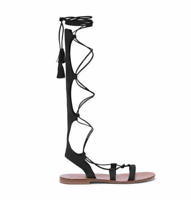 M. Gemi Ariosa Women's Solid Black Suede Leather Lace Up Gladiator Sandals Shoes