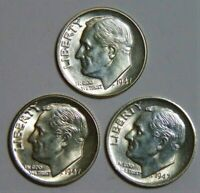 1947 PDS 90% Silver Roosevelt Dime Set BU Brilliant Uncirculated