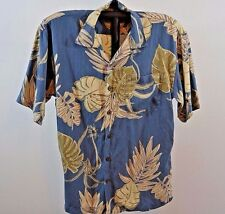 Hilo Hattie The Hawaiian Original Blue w/Leaves Coconut Shell Buttons S SS Silk