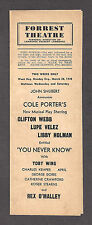 """Cole Porter """"YOU NEVER KNOW"""" Clifton Webb / Libby Holman 1938 Tryout Program"""