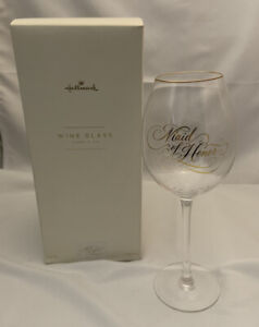 Hallmark Maid of Honor Clear with Gold Detail Wine Glass in Elegant Box