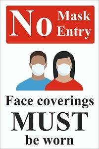 No Mask No Entry Rigid Plastic warning safety sign 300mm x 400mm NMN2