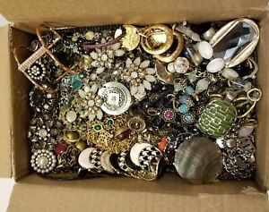 Lot 5 lbs Designer Signed Jewelry Statement Vintage Now Silver Gold Rhinestone