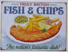 Fish and Chips British Kitchen - Küchen Metall Deko Schild aus England