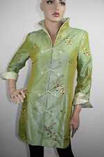 1b41213a4 Ming Xing Chinese Women's Green Nylon Jacket/Coat with Embroidery Green  Size S