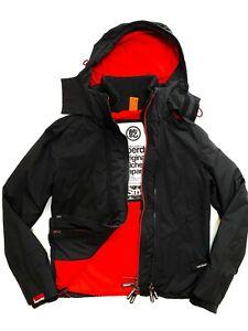 Mens/Ladies SUPERDRY Windcheater Black Red Fleece Jacket/Coat Size XS fit 8/10