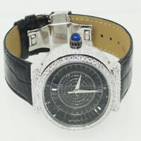Full Iced Out Black & White Bling Master 1.00ct Round Cz's Leather Wrist Watch