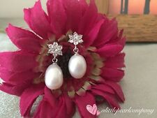 Flower Snowflake Pearl Earrings/925 Sterling Silver