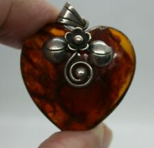 Old Vintage Translucent Amber Brown Resin Heart Pendant w Applied Silver