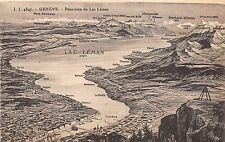 Br33265 Geneve Map Panorama du lac Leman switzerland