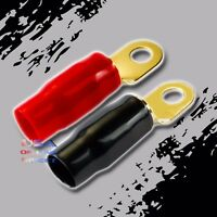 "0 Gauge GOLD Ring Terminals 40 Pack AWG Wire Crimp RED BLACK 5/16"" Hole Contact"