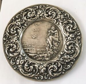 Antique Art Nouveau Sterling Unger Bros. Tray, Lady Of The Waves