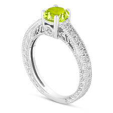 0.70 Carat Green Peridot Engagement Ring, Wedding Ring 14K White Gold Handmade