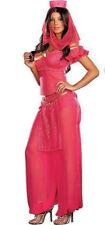 Womens Pink Genie Jasmine Aladdin Disney Ladies Fancy Dress Costume Size 10 - 12