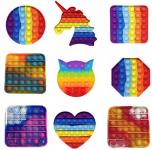 Rainbow Push Pop Fidget Toy It Bubble Special Needs Silent Sensory Autism, UK