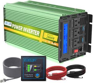 EDECOA 2000 4000 Watt Power Inverter 12V dc to 110V 120V ac LCD Remote RV