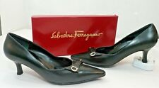 Salvatore Ferragamo Silver Stickpin Bow Black Med Heel Pumps Shoes Women's 8.5B