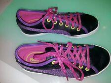 Puma Kinder fit Eco Ortholite size 2 girls almost new shiny purple and black