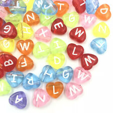 DIY 100PCS  Transparent Heart Mixed Acrylic Letter/ Alphabet Spacer Beads 11mm