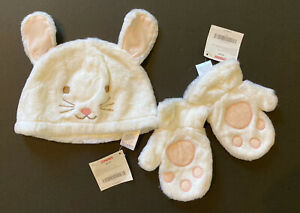 NWT Gymboree Snow Princess 2T-5T Faux Fur Bunny Hat & Mittens