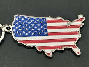 U.S.A. American Flag, Patriotic. Painted Metal.Keychains/Luggage Tag(K7)