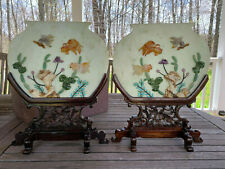 A Pair Excellent Chinese 20th C Jade/Stone Table Screens